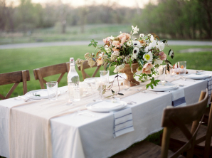 Pale Coral and Ivory Centerpiece