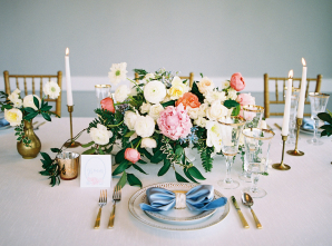 Pastel Pink Ivory and Coral Centerpiece