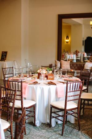 Peach and Brown Wedding Reception