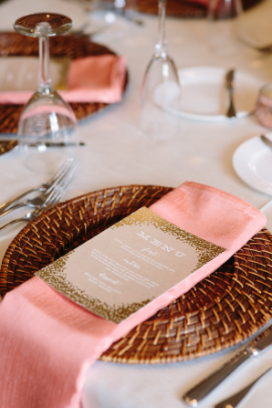 Peach and Rattan Place Setting