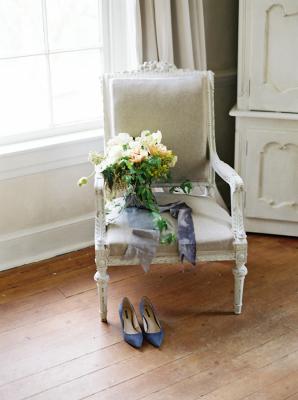 Peach and Slate Bridal Bouquet