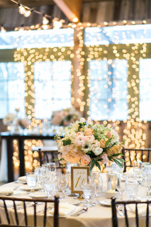 Pink and Brown Reception with String Lights