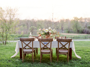 Romantic Peach and Ivory Outdoor Table