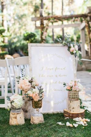 Romantic Pink Rustic Ceremony Decor