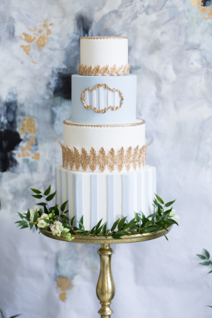 Sky Blue and Gold Wedding Cake