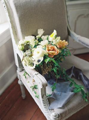 Slate Silk Ribbon on Bouquet