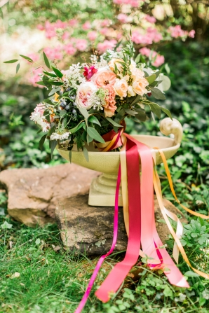 Spring Bouquet with Pink Ribbons