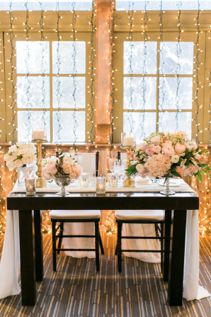 Sweetheart Table with Pink Flowers