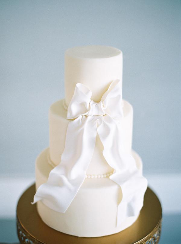 White Wedding Cake with Bow