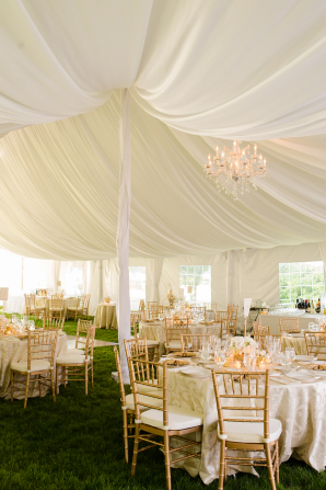 White and Gold Tent Wedding