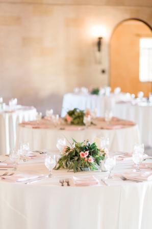White and Pink Wedding Centerpiece