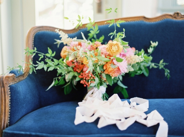 Bouquet on Blue Velvet Couch