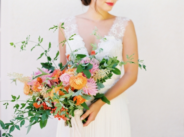 Bouquet with Orange and Pink Flowers
