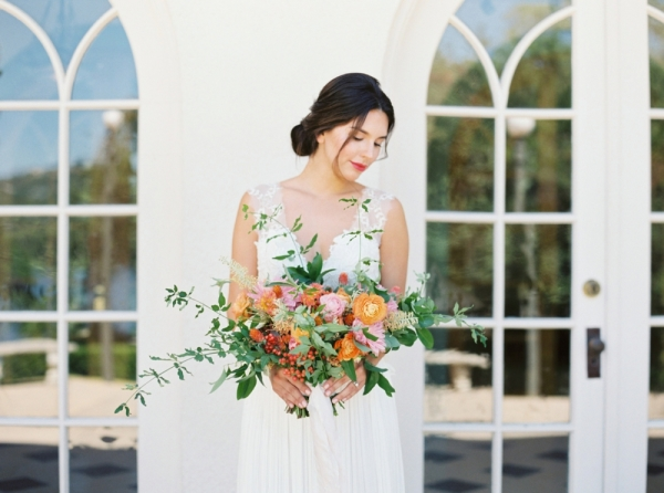 Bridal Portrait with Colorful Bouquet