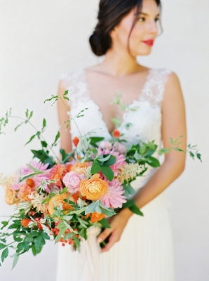 Bride with Orange and Pink Bouquet