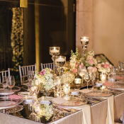 Centerpiece on Mirrored Tabletop