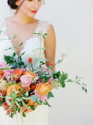Orange and Pink Bridal Bouquet