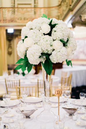 Tall White Hydrangea Centerpiece