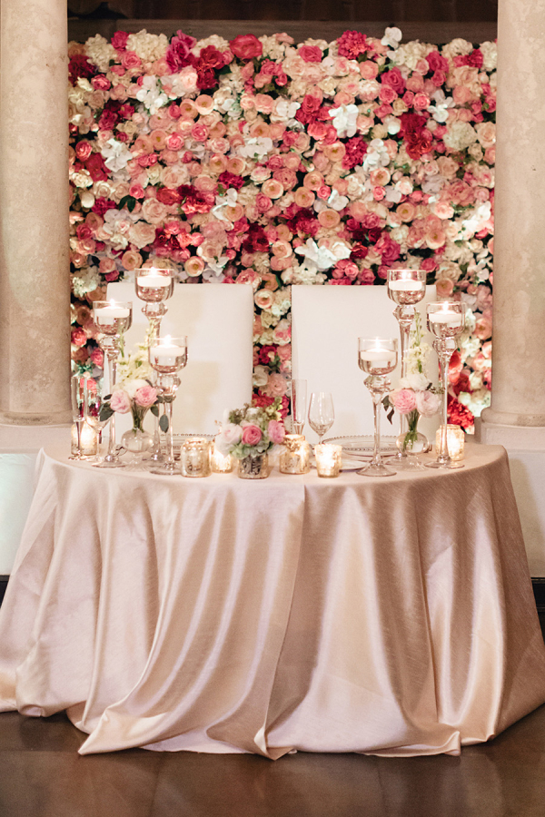 Wall of Flowers Behind Sweetheart Table