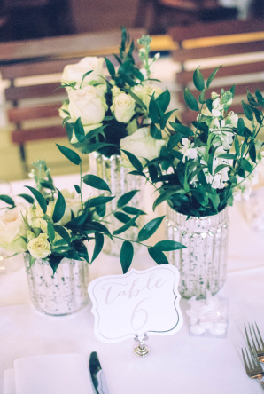 White Rose and Stock Centerpiece