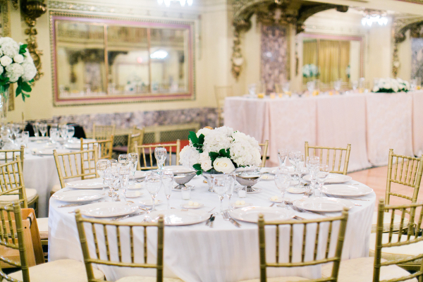 White and Gold Chicago Ballroom Wedding