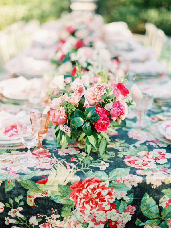 Black Green and Pink Floral Table