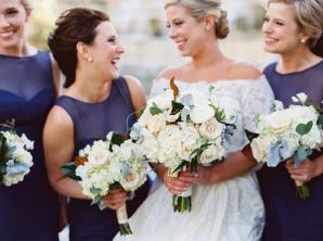 Bridesmaids in Dark Blue Dresses