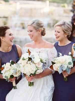 Bridesmaids in Royal Blue Amsale Dresses