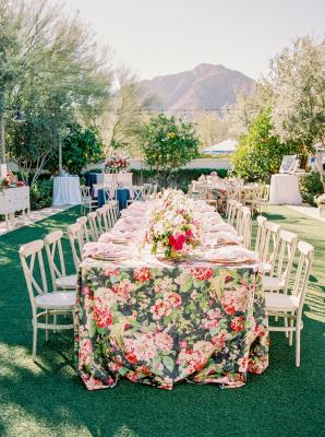 Green Pink and Black Garden Wedding
