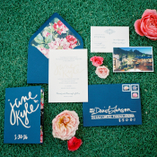 Navy and Floral Wedding Invitations