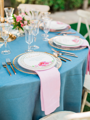 Pink and Blue Garden Wedding Table