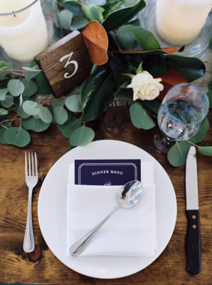 Place Setting with Navy Blue Menu