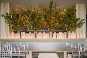 Tall Greenery and Pillar Candle Wedding Decor