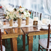 Wood Farmhouse Table at Wedding