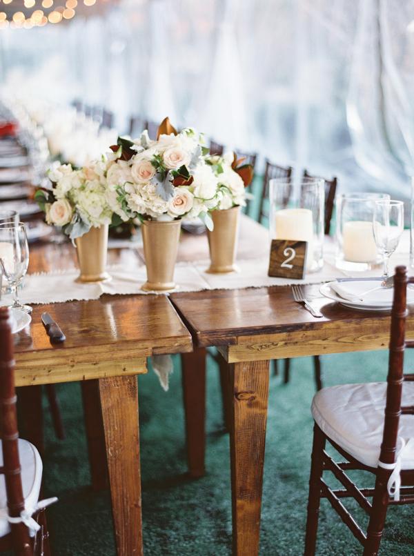 Wood Farmhouse Table at Wedding