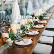 Wood Tables with Candle Centerpiece
