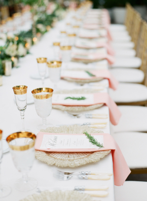 Blush White and Gold Place Setting
