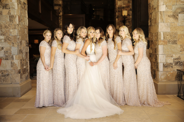 Bridesmaids in Adrianna Papell