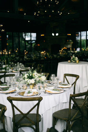 Brown Green and White Wedding Reception