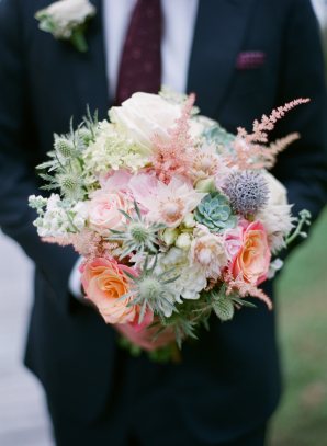 Colorful Bride Bouquet with Thistle