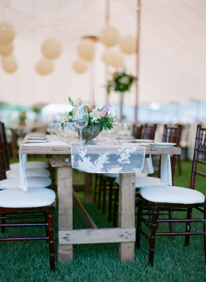 Farmhouse Tables in Wedding Tent