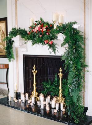 Fireplace with Pillar Candles
