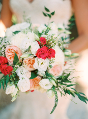 Fuchsia and Peach Bridal Bouquet