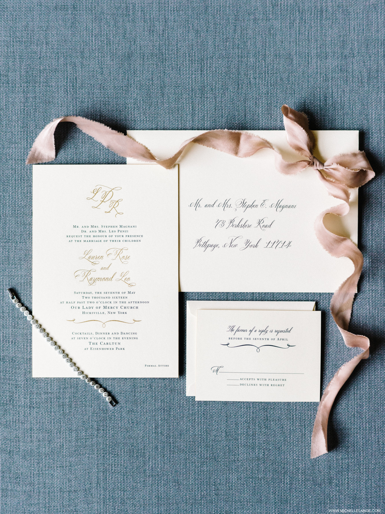 Gold and Black Traditional Wedding Invitations - Elizabeth Anne ...