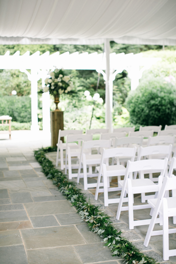 Greenery Garland On Wedding Aisle Elizabeth Anne Designs