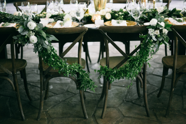 Greenery on Wedding Chairs