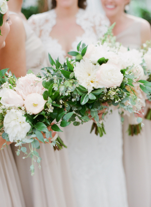 Ivory Blush and Green Bouquets