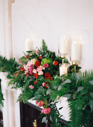 Mantel with Ferns and Greenery