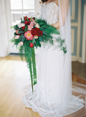 Peony Rose and Fern Bouquet