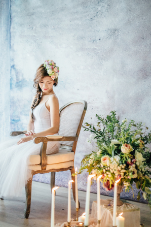 Side Braid and Flower Headpiece